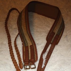 Set of 2 Belts Woven, Straw Brown Green XL/L